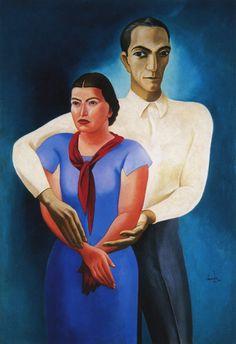 Almada Negreiros, Duplo retrato, 1934-36, óleo sobre tela, 146 x 101 cm - Pintura de Portugal – Wikipédia, a enciclopédia livre