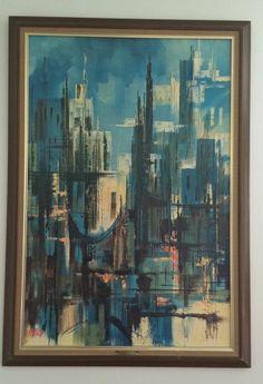 Vintage Mid Century Eames TURNER WALL Art Framed PRINT Nightfall $95