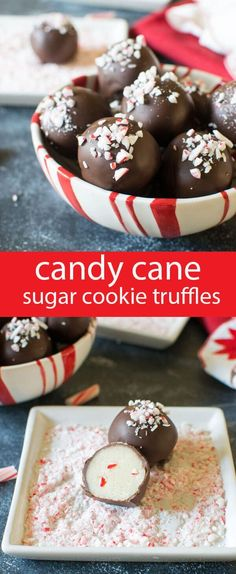 Smooth sugar cookie truffles with a touch of peppermint candy cane crunch inside. Dip in chocolate and sprinkle with candy canes. #Christmas #candy