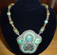 Mayan Goddess Natural Turquoise Bead by nardiesarttowear on Etsy, $125.00