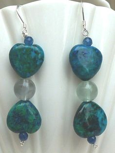 Azurite Chrysocolla Heart Earrings by anncarrolldesign on Etsy, $24.00 Beautiful combination of blues and greens that will look lovely on most all skin tones.