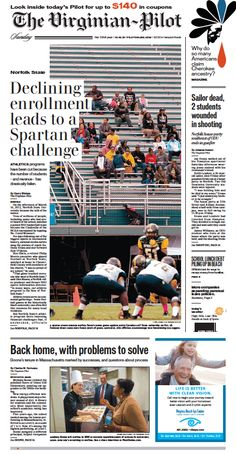 The Virginian-Pilot's front page for Sunday, Oct. 18, 2015.