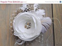 SPRING SALE Soft White Bridal Flower Hairpiece by BelleBlooms, $33.15