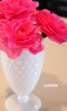 paper flowers in milk glass....I need to make these for some of my milk glass!