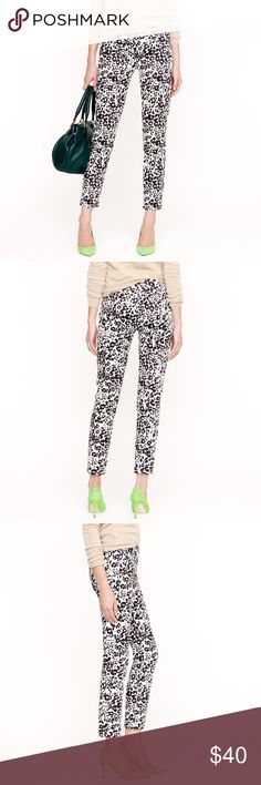 J. Crew Bennett cropped chino in snowcat leopard Retail: $110 Size 6  Favorite Fit,  the leanest, leggiest chino we've ever made�now comes in a cropped fit. Black, white and chic allover, the flattering stretch cotton features a print created by our in-house artist after a trip to New York's famous Bronx Zoo where the resident Himalayan snow leopard never ceases to amaze. Cotton with a hint of stretch. Fitted through hip and thigh, with a slim, ankle-length leg. Zip fly. Slant pockets, back…