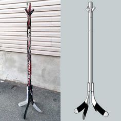 hockey stick coat rack the ceiling- hockey stick coat rack verkleiden hockey stick coat rack dress up - Hockey Stick Crafts, Hockey Sticks, Craft Stick Crafts, Craft Ideas, Boys Hockey Bedroom, Hockey Decor, Basement Furniture, Basement Walls, Furniture Ideas