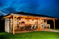 Grilovací dům obr.2 Gazebo, Pergola, Outdoor Kitchen Plans, Grill Design, Outdoor Gardens, Countryside, Bali, Outdoor Living, New Homes