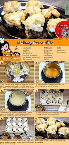 A Mákosguba muffin nem más, mint a gyermekkorunk egyik nagy kedvence kicsit újragondolva! Látványos, finom falatok! A Mákosguba muffin recept videóját a kártyán levő QR kód segítségével bármikor megtalálod! :) #MákosgubaMuffin #Mákosguba #ReceptVideók #Recept #Muffin #Desszert #MuffinRecept #Aprósütemény Cookie Recipes, Dessert Recipes, Do It Yourself Food, Hungarian Recipes, Healthy Cake, Dessert Drinks, Diy Food, No Cook Meals, Soul Food