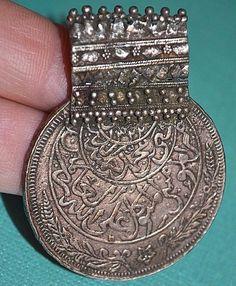 Antique Rare Yemeni Islamic Silver Coin Medallion Pendant W Elaborate Bail Yemen | eBay