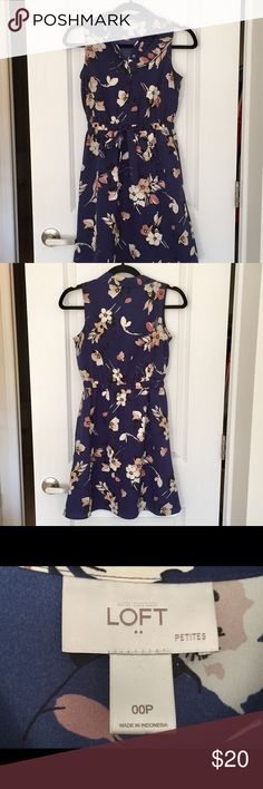 Adorable Loft navy print shirtdress with collar This navy print shirtdress with a collar from Loft would be perfect for the workplace. There are buttons from the waist to the collar and an elastic waist with a ribbon tie. Worn a few times but in great condition. LOFT Dresses