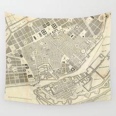 Vintage Map of Copenhagen Denmark Expansions Wall Tapestry by bravuramedia Wall Tapestries, Tapestry, Copenhagen Map, City Maps, The Expanse, Hand Sewn, Vivid Colors, Crisp