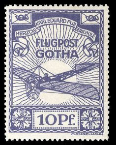 German Empire Semi Offical Airmail Stamps, Michel 5 - 1912 Gotha, 10pf violet blue, n.h., v.f., signed Dr. Oertel, (Catalog value €800) Lot condition ** Dealer Cherrystone Auction Auction Estimate price: 230.00 US$