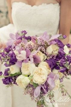 Wedding ● Bouquet ● Purple & Lavender for magical # Purple Wedding . -- S&S, this bouquet is an example of one in between the muted and jewel tones. Purple Wedding Bouquets, Lilac Wedding, Mod Wedding, Bride Bouquets, Bridal Flowers, Floral Wedding, Wedding Colors, Dream Wedding, Lavender Bouquet