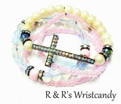 Pink Opal Cross Stack Beaded Bracelets by RandRsWristCandy on Etsy, $7.00 *** $7 Sale + FREE US SHIPPING ***
