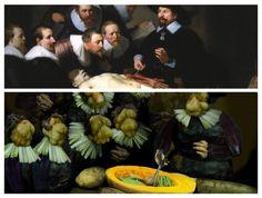 El cuadro de Rembrandt, Lección de anatomía del Dr. Nicolaes Tulp realizado con vegetales