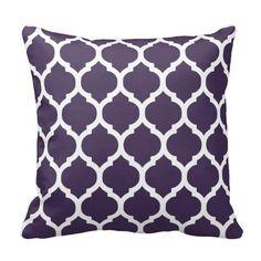 Purple U0026 White Moroccan Lattice Throw Pillow
