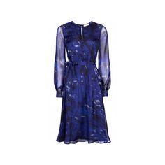BEULAH Sabitri Dress Navy Rose via Polyvore featuring dresses, long silk dress, long sleeve dress, navy summer dress, navy blue dress and knee length summer dresses