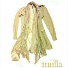 MIILLA - GORGEOUS UNIQUE BEIGE CARDIGAN MIILLA - SZ SMALL BEIGE CARDIGAN    * 55% LINEN    * 45% COTTON BEAUTIFUL, FLOWING LONG SCARF ATTACHED TO LONG FLOWING CARDIGAN.      THIS IS BEAUTIFUL! ANYONE THATS GET THIS WILL BE TOTALLY PLEASED HOW IT LOOKS ON! MIILLA Sweaters Cardigans
