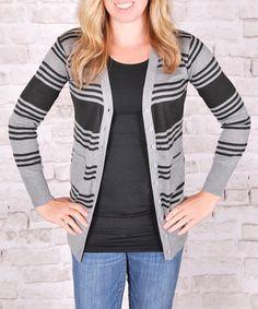 Loving this Black & Charcoal Stripe Caridgan on #zulily! #zulilyfinds