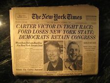 Original New York Times Jimmy Carter Election Issue November 3rd 1976