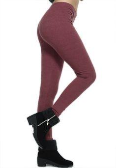 Blending Cotton Solid Purplish Red Leggings