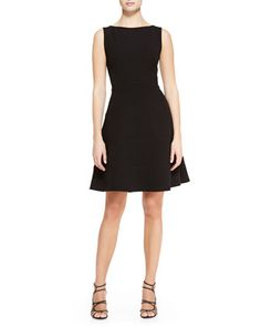Boat-Neck Dress with Full Skirt, Black by Lela Rose at Neiman Marcus.