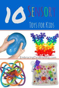 10 Sensory Toys for Kids: help with focus, special needs, autism, fidgets for homeschooling concentration, ADHD, etc. embracingdestinyblog.com