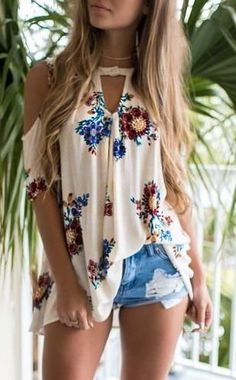 #summer #outfits / floral print blouse