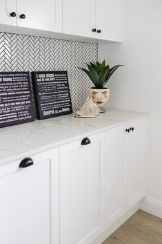 Caesarstone Quartz and Concetto Gallery Granite Benchtop, Timber Benchtop, Kitchen Benchtops, Countertops, Black Granite Kitchen, Kitchen Cabinets And Granite, Mudroom Laundry Room, Laundry Room Design, New Kitchen