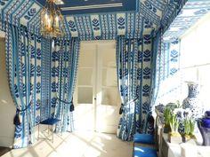 pretty blue drapery in the Brunschwig & Fils New York showroom // patterns