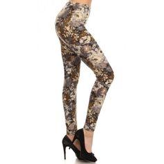 Neutral Floral Print Leggings (Regular)
