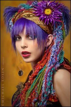 Art yarn hair braids and PURPLE HAIR!