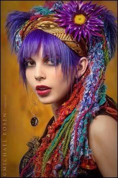 Art yarn hair braids and PURPLE HAIR!