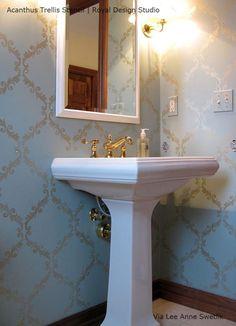 a diy stenciled bathroom using the chinese ginkgo leaf stencil