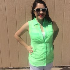 """LISTING Lime Sheer Oxford Top Comes in multiple colors. 26"""" long . Buttons up on front. Has 2 front pockets. Small  PTP is 18"""". Medium PTP is 19"""" Large PTP is 21"""" XL PTP is 22"""" 2XL PTP is 23"""" 100% poly. Please LMK what size you want and I will create a listing for you. Pair with some white shorts or capris. Boutique Tops"""