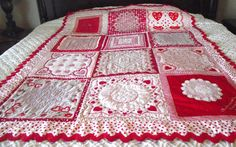 Say I love you with this dazzling Valentine quilt made of a dozen vintage hankies. This one is stunning, if I do say so myself!    Each
