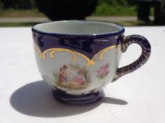 Vintage Nippon Minature Scenic Cup Man & Woman Lovers Cobalt Blue hand painted