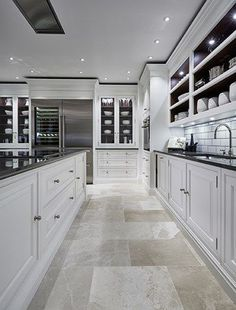 Luxury Kitchen Luxury Grand Kitchen - Tom Howley - Grand white painted kitchen with statement monochrome island featuring the latest state-of-the-art Sub-Zero and Wolf appliances. Elegant Kitchens, Luxury Kitchens, Beautiful Kitchens, Cool Kitchens, Tuscan Kitchens, Dream Kitchens, Small Kitchens, White Kitchens, Modern Kitchens With Islands