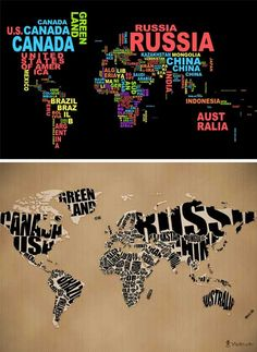 Geo-Typographies: World map wall stickers & wall papers made of words