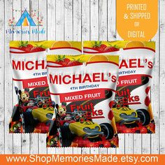 Mickey Party Supplies 1oz Party Favors 12 Personalized Mickey and the Roadster Racers Chip Ahoy Wrappers Roadster Racers Birthday Party