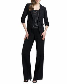 Mercer Santana Jacket, Sparkle Tank & Woven Pants by St. John Collection at Neiman Marcus.