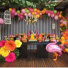 Flamingo Birthday Party Set Up 31 Most Popular Ideas Kids Luau Parties, Sweet 16 Parties, Luau Party, Flamingo Birthday, Luau Birthday, Birthday Parties, Flamenco Party, Luau Baby Showers, Barbie Party