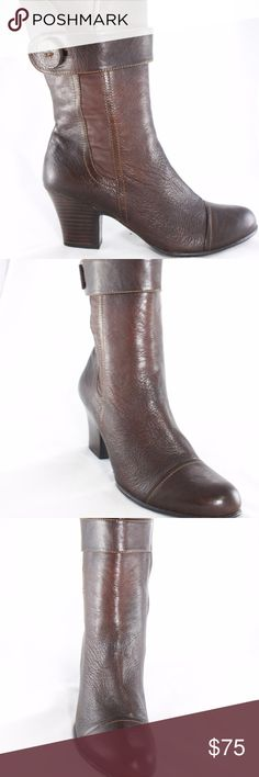 NEW BORN Two-tone leather mid-calf Boots Sz 10 Brand new in a really nice two-tone leather. Nice chunky heel for comfort, and fully adjustable zipper. Size 10M Heel Height about 3 inches Born Shoes Heeled Boots