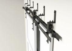 DIYHD 5ft-10ft Rustic black bypass double sliding barn door hardware bypass kit