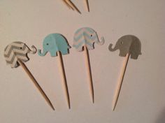 20  light blue and gray chevron elephant cupcake toppers- baby boy- cheese picks- baby showers- cupcake decoration on Etsy, $8.76 CAD