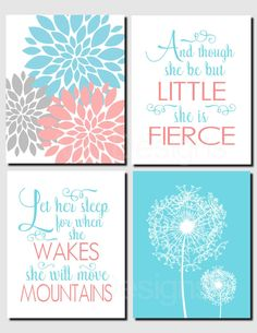 Girl Nursery Art, Coral Teal Gray, Let Her Sleep, And though she be but little, Kids Wall Art, Toddler Girl Room, Set of 4 Prints or Canvas by vtdesigns on Etsy