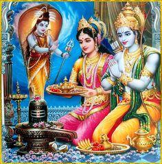 Lord Rama and Sita with offering to Lord Shiva Ram Sita Photo, Ram Sita Image, Shiva Art, Hindu Art, Ganesha Art, Señor Krishna, Saraswati Devi, Durga Maa, Happy Ram Navami