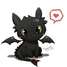 Toothless, chibi, cute, heart, How to Train Your Dragon; Kawaii