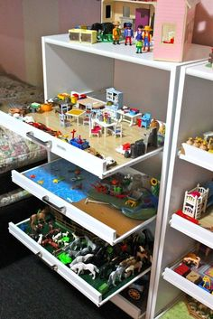 Playmobil Drawer Storage for keeping everything setup. (via HE Adopted Me First)    use closet organizer with pull out drawers, or remove sides and part of front from dresser