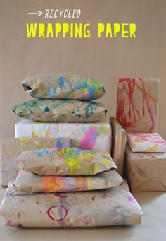 Re-use leftover table coverings as wrapping paper!